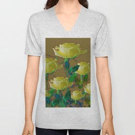 ARTISTIC YELLOW ROSE HARMONICS DRAWING Unisex V-Neck