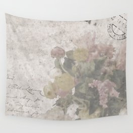 Floral Vintage Postcard bouquet of flowers Wall Tapestry