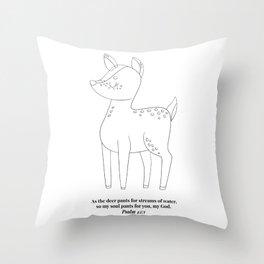 As the Deer Pants... -Psalm 42:1 Line Art Sketch Throw Pillow