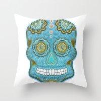 sugar skull Throw Pillows featuring sugar skull by Ancello