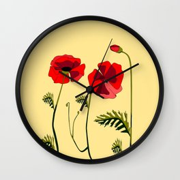 Adorable Red Poppies Unfold Wall Clock