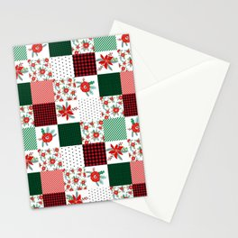 Plaid quilt pattern outdoors nature forest christmas holidays gifts Stationery Cards