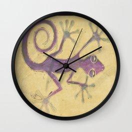 Purple Gecko of Love Wall Clock