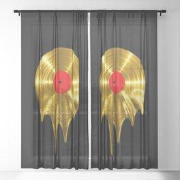 Melting vinyl GOLD / 3D render of gold vinyl record melting Sheer Curtain