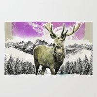 reindeer Area & Throw Rugs featuring Reindeer by kayak