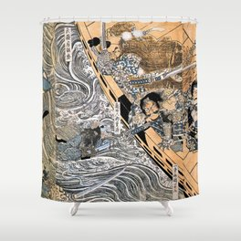 Kuniyoshi Utagawa, The ghost of Taira Tomomori, Daimotsu bay Shower Curtain