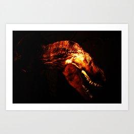 Tyrannosaurus Rex dinosaur in light. Art Print