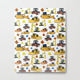 Construction Vehicles Pattern Metal Print