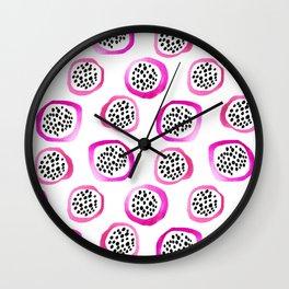 Watercolor Dragon Fruits Wall Clock