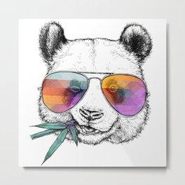 Panda Graphic Art Print. Panda in glasses Metal Print