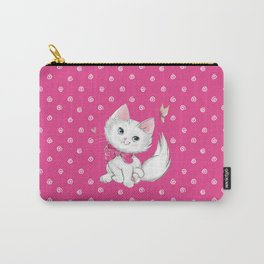 Cute White Kitten with Butterfly on Pink Background Carry-All Pouch