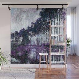 Monet : Poplars Violet Dark Blue Wall Mural