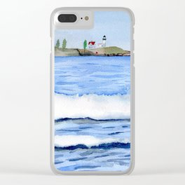 Ocean waves with Lighthouse Watercolor Art Clear iPhone Case
