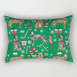Austrian Cattle Dog red and blue merle christmas presents holiday dog breed pattern pet friendly Rectangular Pillow