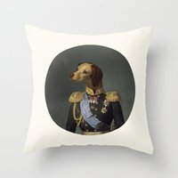 military Throw Pillows featuring dog military by UiNi