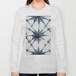 Shibori Starburst Indigo Blue on Lunar Gray Long Sleeve T-shirt
