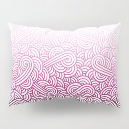 Gradient pink and white swirls doodles Pillow Sham