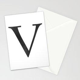 Letter V Initial Monogram Black and White Stationery Cards