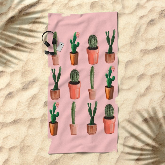 Various Cacti Pink Beach Towel