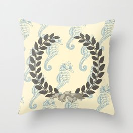 Laurel Wreath with Seahorses Throw Pillow