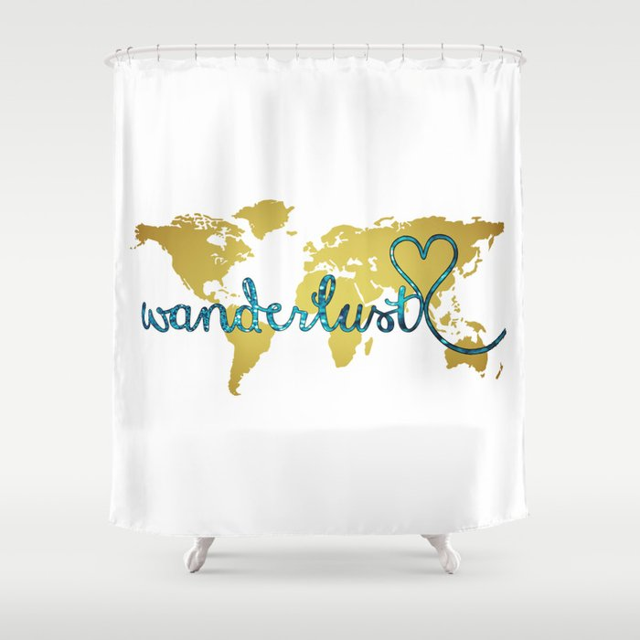 Wanderlust Gold Foil Map with Teal Glitter Text Shower Curtain