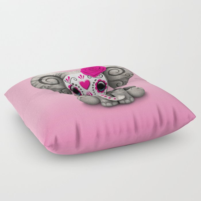 Pink Day of the Dead Sugar Skull Baby Elephant Floor Pillow by ...