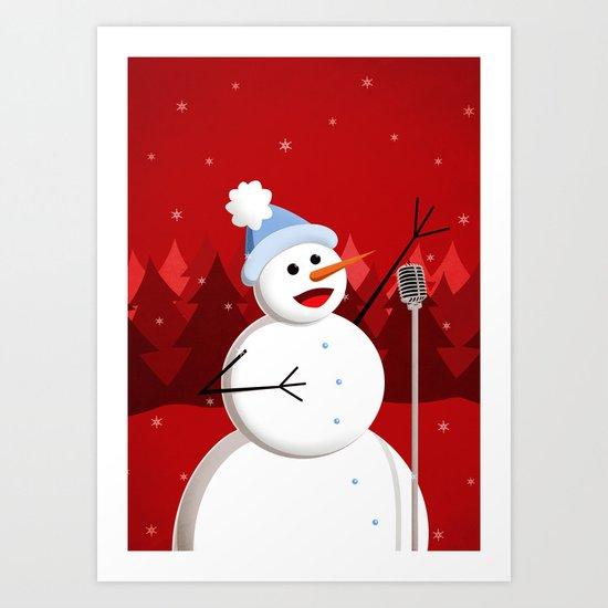 Happy Singing Snowman Art Print