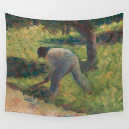 Peasant with a Hoe Oil Painting by Georges Seurat Wall Tapestry