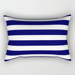 Navy Blue & White Stripes- Mix & Match with Simplicity of Life Rectangular Pillow