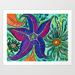 Alki Sea Stars and Anemones  Art Print