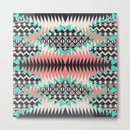 Tribal Beat Geo Pastel Metal Print