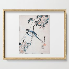 Utagawa Hiroshige - Great Titmouse on a Crab Apple Branch Serving Tray