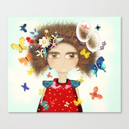 Doll Butterfly Balloons Afro Hair Flowers Canvas Print