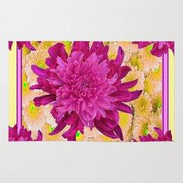 Styalized Art Purple & Yellow Chrysanthemums Floral Garden Rug