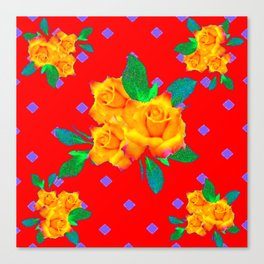 Red & Violet Gold Roses Violet Pattern Canvas Print