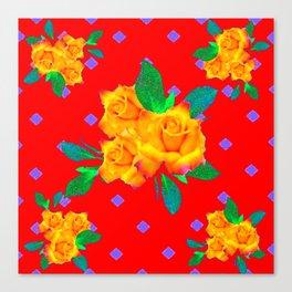 Red & Violet Gold Roses Violet Pattern Canvas Print