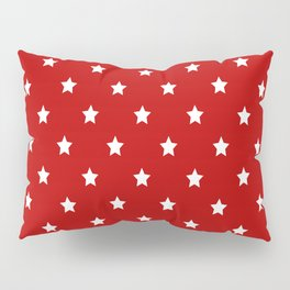 Red Background With White Stars Pattern Pillow Sham