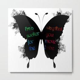silhouette butterfly ink Metal Print