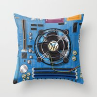 computer Throw Pillows featuring Computer Motherboard by Nick's Emporium Gallery