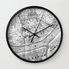Vintage Map of Cincinnati Ohio (1838) BW Wall Clock