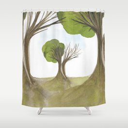 Duality Tree Shower Curtain