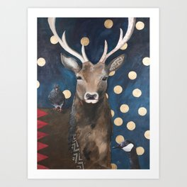 Stag with Tubbs and Goose Art Print