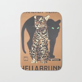 1912 Munich Zoo Green-Eyed Leopold Vintage Advertising Poster Bath Mat