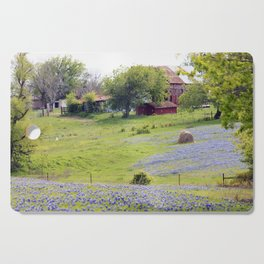 Old Red Barn and Rolling Bluebonnet Hills Cutting Board