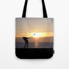 Playing Golf At Sunset Tote Bag