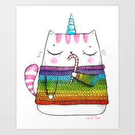 Rainbow Caticorn eating a candy cane Art Print