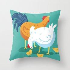 Chicken Family Throw Pillow