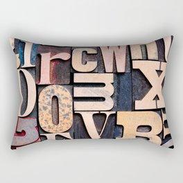 Random Wooden Letterpress Letters Rectangular Pillow