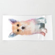Corgi watercolor Beach Towel