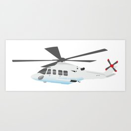 White and Grey Helicopter Art Print